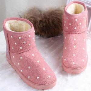 Fuzzy Beaded Snow Boots - PINK 39