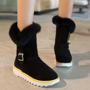 Fuzzy Buckle Strap Snow Boots -