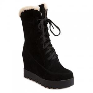 Mid Calf Lace Up Hidden Wedge Boots