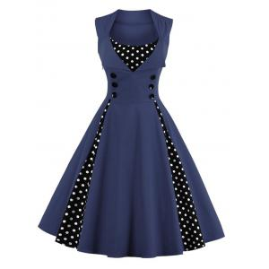 Polka Dot Retro Corset A Line Dress - Purplish Blue - 4xl