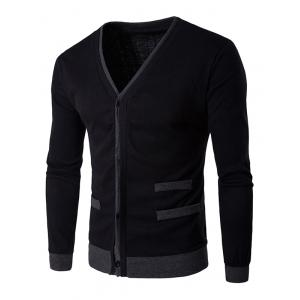 V-Neck Single-Breasted Selvedge Spliced Knitting Cardigan
