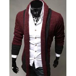 Color Block Panel Longline Knitting Cardigan - WINE RED 2XL