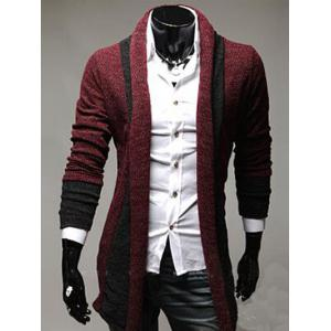 Color Block Panel Longline Knitting Cardigan - Wine Red - Xl