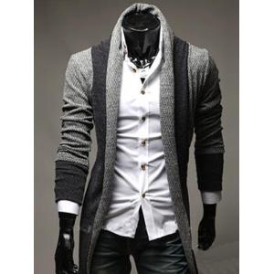 Color Block Panel Longline Knitting Cardigan