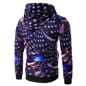 Hooded 3D Star and Stripe Print Hoodie - COLORMIX 2XL