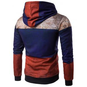 Hooded Color Block Spliced Rust Print Hoodie - COLORMIX L