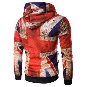 Hooded Distressed Union Jack Print Hoodie - COLORMIX 2XL