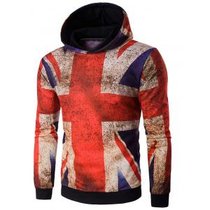 Hooded Distressed Union Jack Print Hoodie