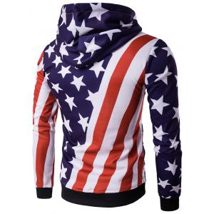 Hooded 3D Stars and Oblique Stripes Print Hoodie - COLORMIX 2XL