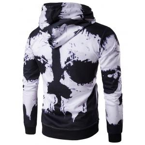 Hooded Skull Face Print Hoodie - WHITE AND BLACK 2XL