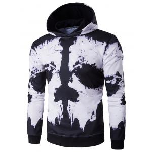 Hooded Skull Face Print Hoodie - White And Black - M