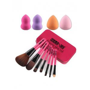 7 Pcs Makeup Brushes Set with Iron Box + Makeup Sponges