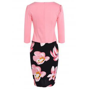 Floral Mid Length Pencil Dress - PINK 3XL