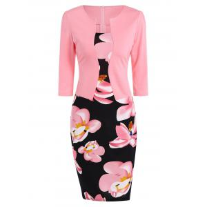 Floral Sheath Pencil Work Dress - Pink - 2xl