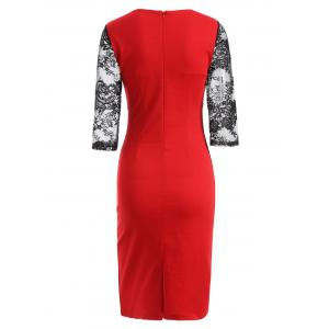 Rose Embroidered Lace Spliced Pencil Dress - RED 4XL