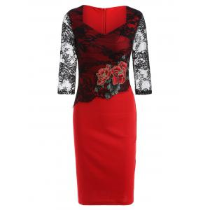 Rose Embroidered Lace Spliced Pencil Dress - Red - L