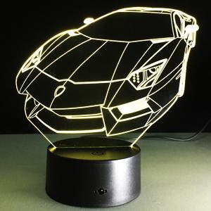 7 Color Touch Changing 3D Roadster Night Light - TRANSPARENT