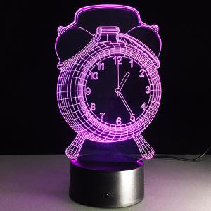 7 Color Touch Changing 3D Clock Night Light