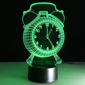 7 Color Touch Changing 3D Clock Night Light - TRANSPARENT