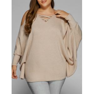 Plus Size Cold Shoulder V Neck Dolman Sleeve Sweater - Khaki - 3xl