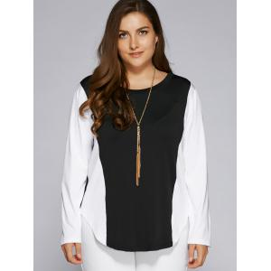 Plus Size Color Block Long Sleeve Top - WHITE AND BLACK 5XL