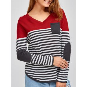 V Neck Long Sleeve Striped Pullover Sweater