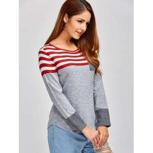 Casual Long Sleeves Striped Pullover Sweater - GRAY L