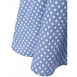 Polka Dot Knee Length Flare Dress - LIGHT BLUE L