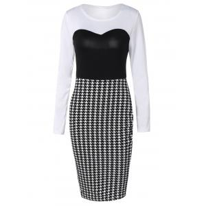 Long Sleeve Houndstooth Midi Sheath Dress - Black White - M