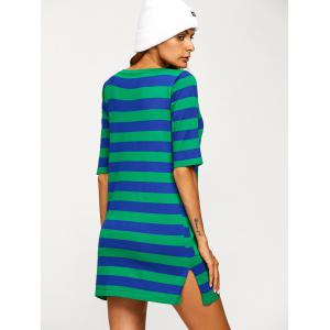 V Neck Pocket Striped Jumper Dress - BLUE ONE SIZE