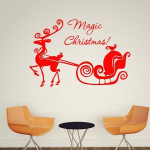 Magic Christmas Removable Glass Window Wall Stickers - RED