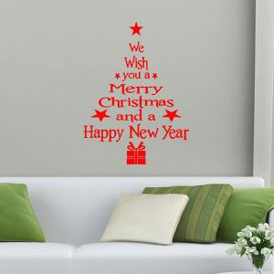 Christmas Wishes Tree Removable Glass Window Wall Stickers - RED