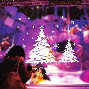 Snowflake Christmas Tree Removable Glass Window Wall Stickers - WHITE