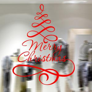 Ribbon Merry Christmas Removable Glass Window Wall Stickers -