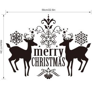 Merry Christmas Deer Pattern Wall Stickers Showcase Decoration -