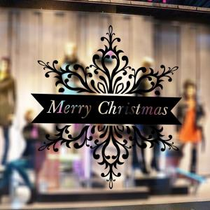 Merry Christmas Banner Wall Stickers Window Showcase Decoration - BLACK