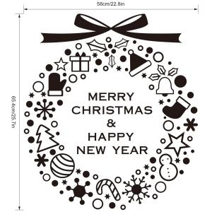 Merry Christmas Window Showcase Decoration Wall Stickers - BLACK