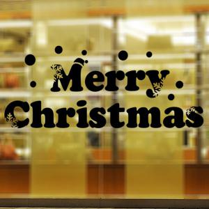 Window Showcase Decoration Merry Christmas Slogan Wall Stickers - BLACK