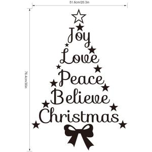 Removable Christmas Letters Wall Stickers Showcase Decoration - BLACK