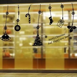 Christmas Gift Decorative Pendants Removable Window Wall Stickers - BLACK