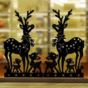 Removable Deer Pattern Christmas Showcase Wall Stickers - BLACK