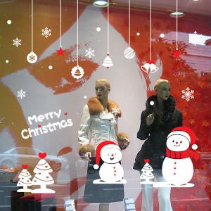 Removable Snowman Pattern Merry Christmas Showcase Wall Stickers -