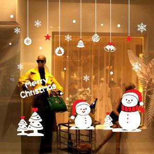 Removable Snowman Pattern Merry Christmas Showcase Wall Stickers - WHITE
