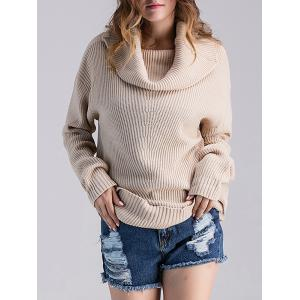 Loose Fit Ribbed Cowl Sweater - Light Apricot - One Size