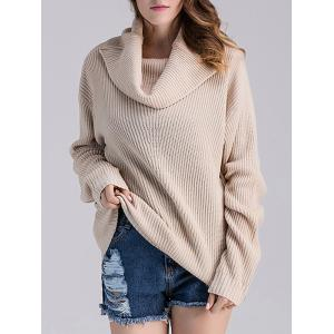 Loose Fit Ribbed Cowl Sweater - LIGHT APRICOT ONE SIZE