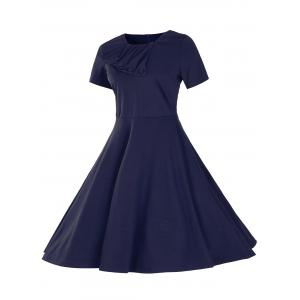 Retro Slant Button Ruched Flare Dress - PURPLISH BLUE 2XL