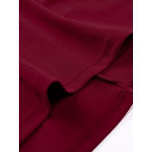 Retro Notched  Cape Sleeve Full Dress - WINE RED L