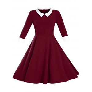Retro Flat Collar Flare Dress