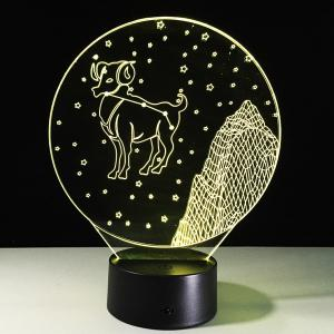 3D Visual 7 Color Changing Aries Shape LED Night Light -