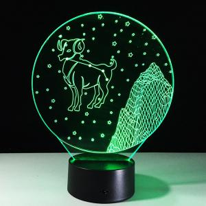 3D Visual 7 Color Changing Aries Shape LED Night Light - COLORFUL